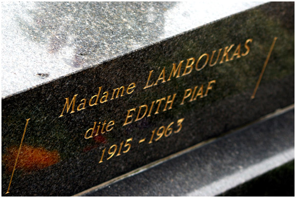 Edith Piaf - grave at The Cemetery of Pere Lachaise, Paris, France 2009